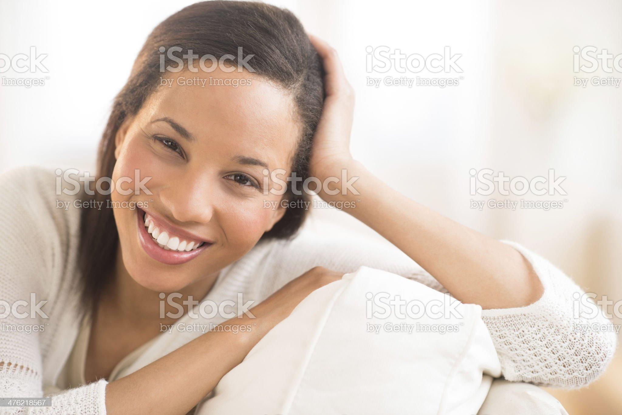 Beautiful Woman Smiling At Home royalty-free stock photo