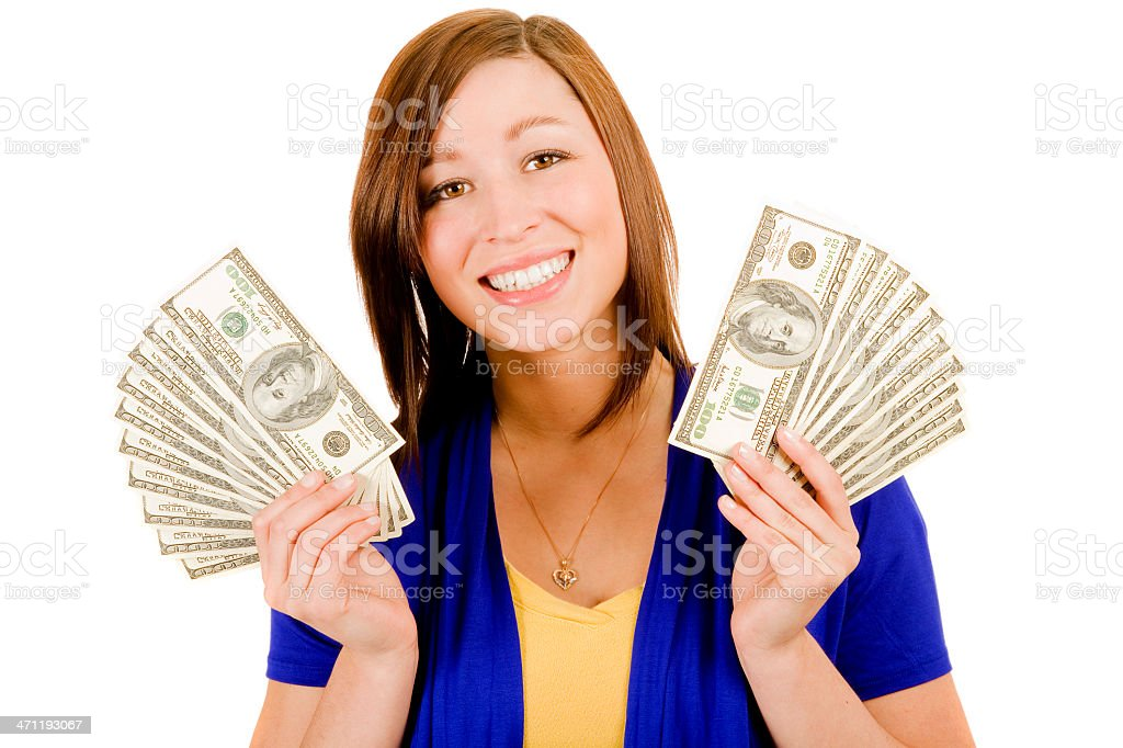 Beautiful woman smiling hands cash happy brunette isolated on white stock photo
