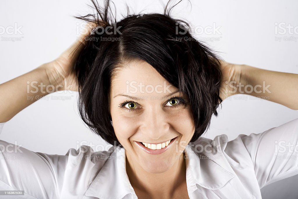 Beautiful woman smiling in the camera stock photo