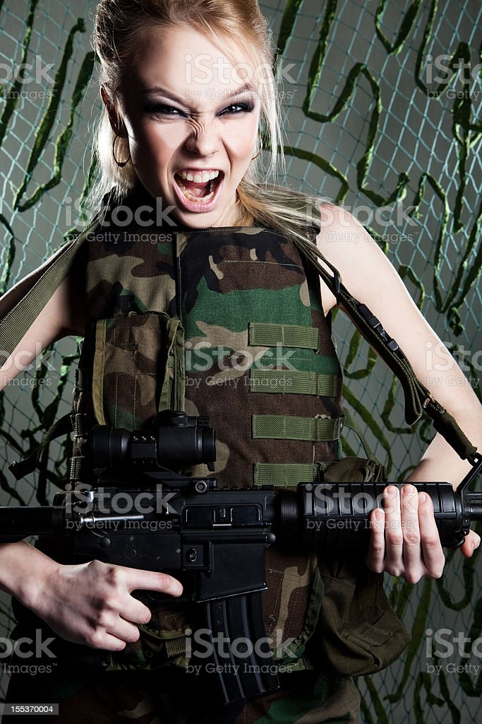 Beautiful woman soldier royalty-free stock photo