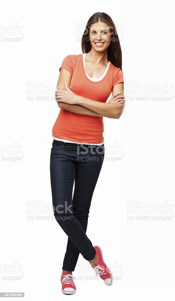 Beautiful Woman Standing With Arms Crossed - Isolated stock photo