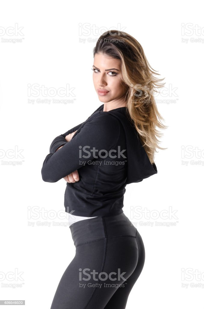 Beautiful woman stands stock photo