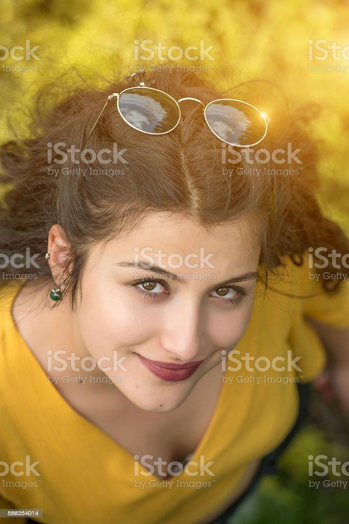 Beautiful woman student portrait stock photo