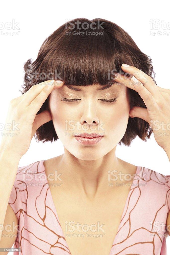Beautiful woman suffering from a headache royalty-free stock photo