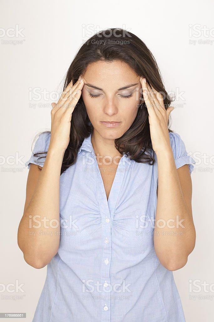 Beautiful woman suffering from headache royalty-free stock photo