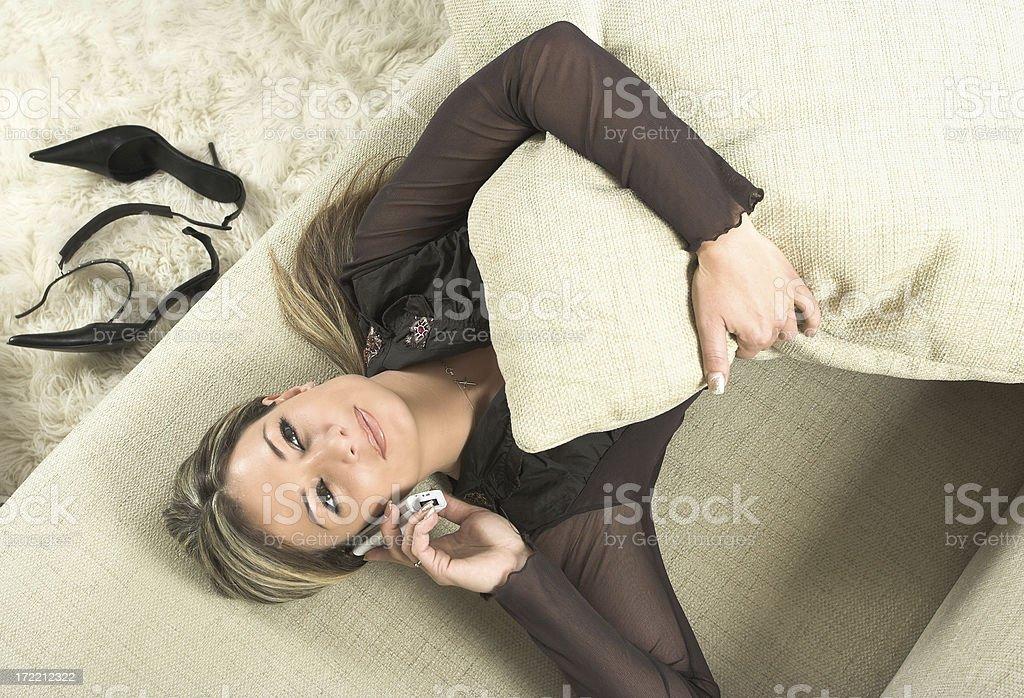 Beautiful woman talking on cellphone royalty-free stock photo