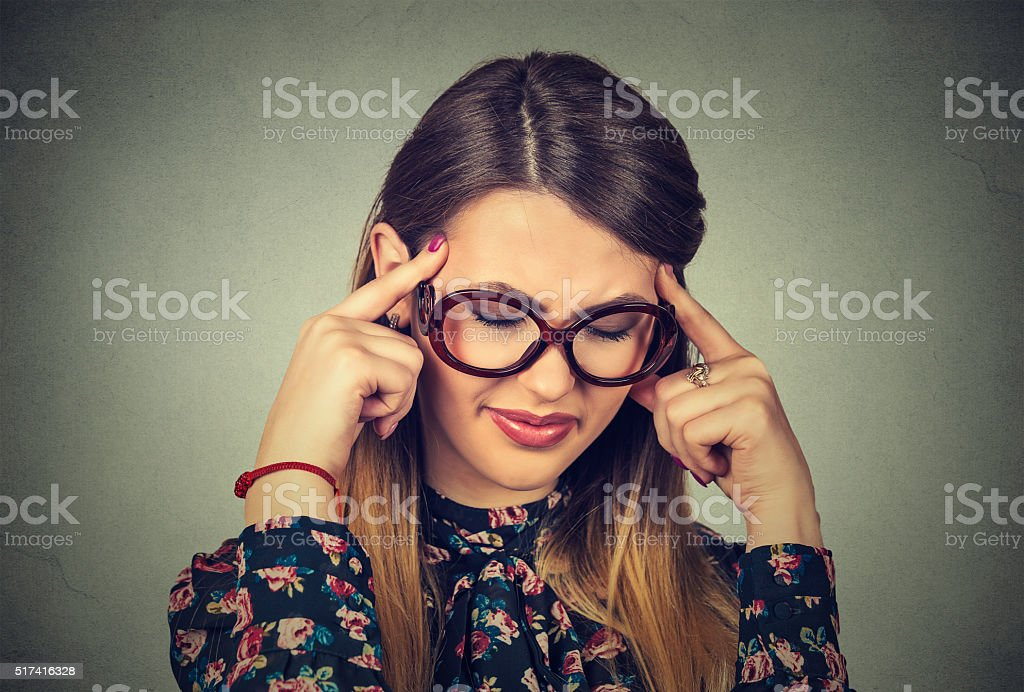 beautiful woman thinking eyes closed stock photo