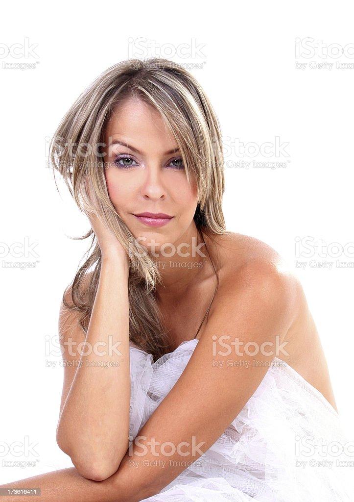 Hermosa mujer pensando - foto de stock