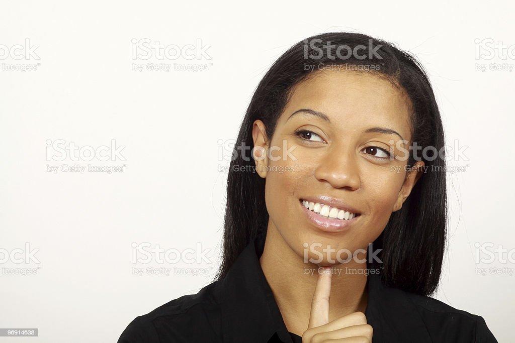 Belle femme penser photo libre de droits