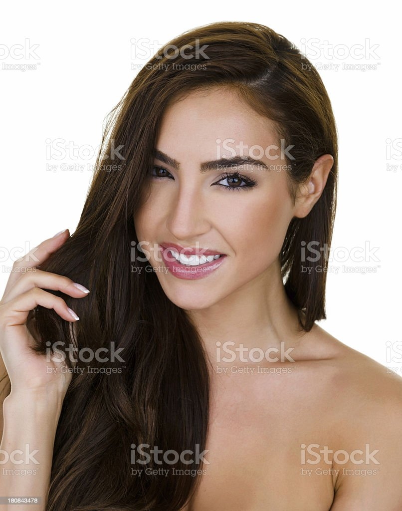 Beautiful woman touching her hair royalty-free stock photo
