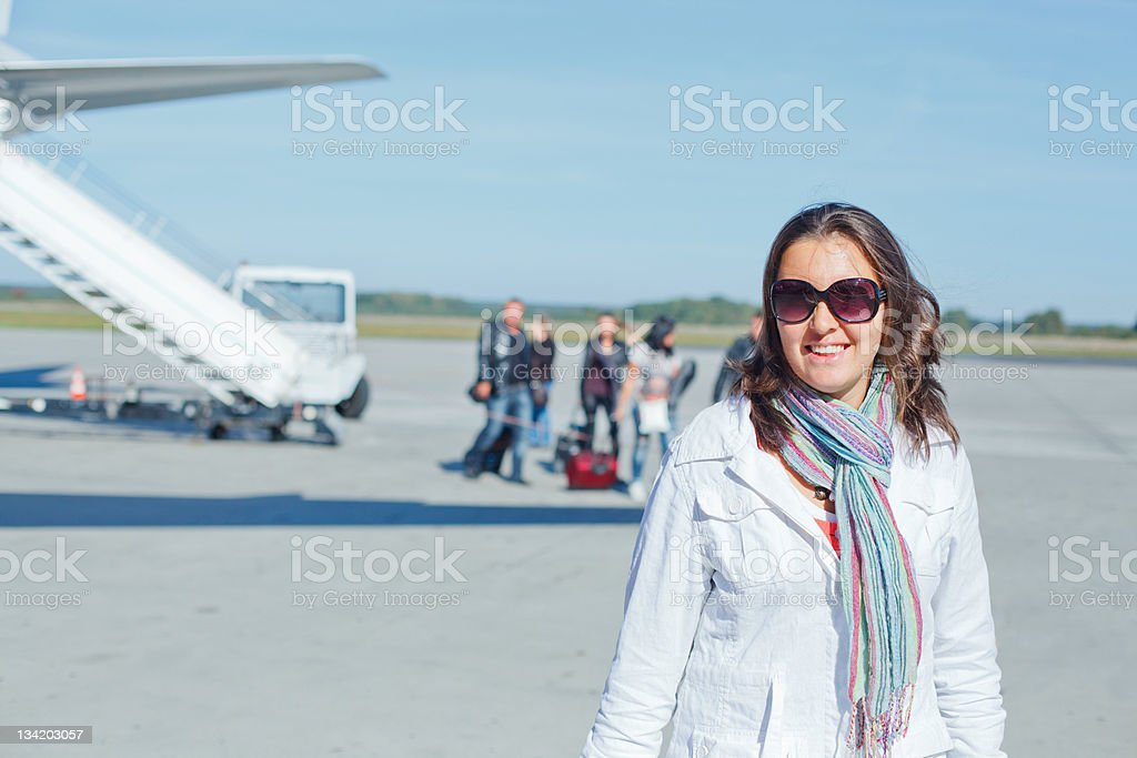 beautiful woman tourist prepared to fly stock photo
