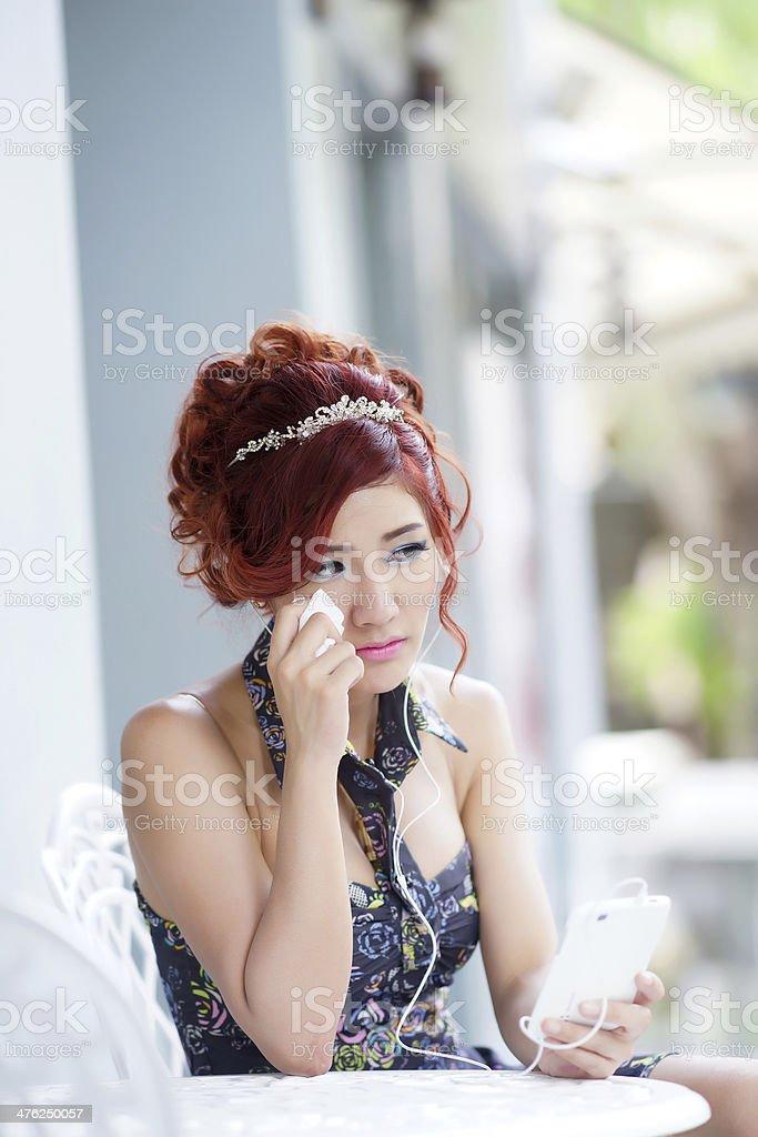 Beautiful woman upset and crying royalty-free stock photo
