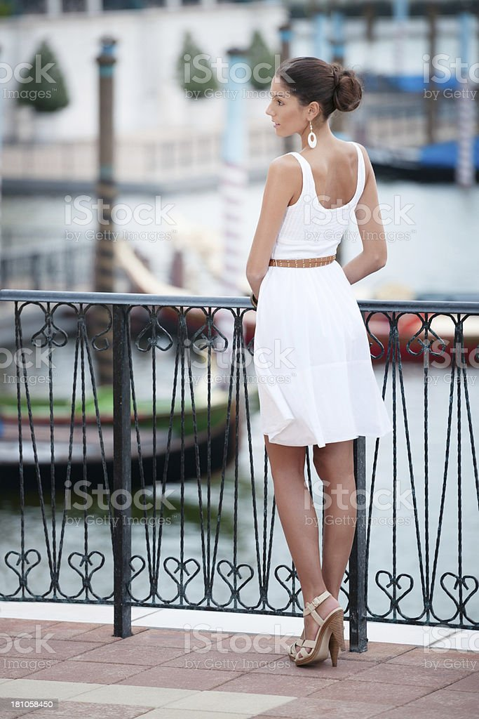 Beautiful Woman, Venice Harbour, Italy royalty-free stock photo