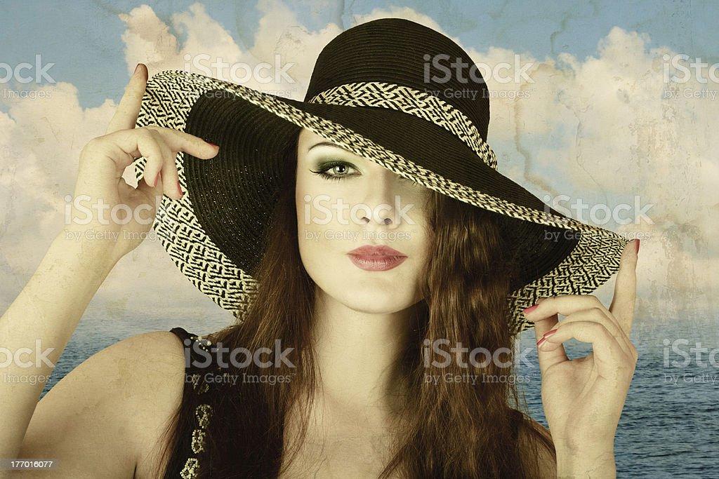 Beautiful woman vintage photo royalty-free stock photo