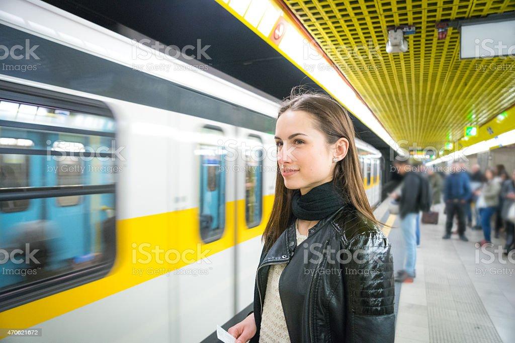 Beautiful Woman Waiting For The Subway Train stock photo