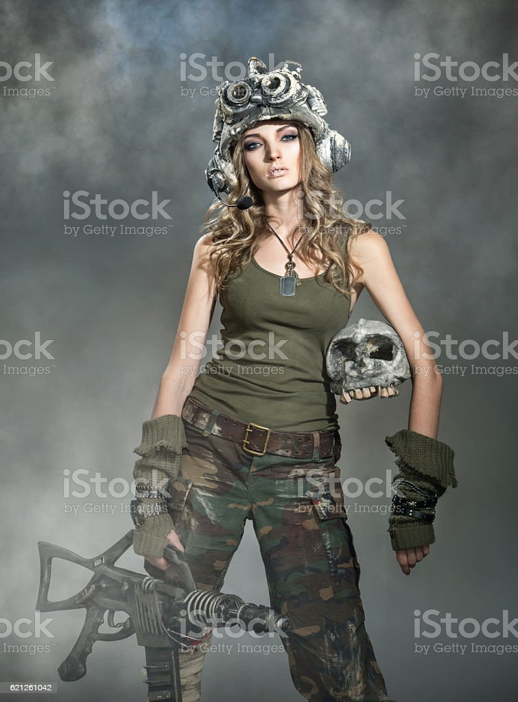 Beautiful woman warrior stock photo