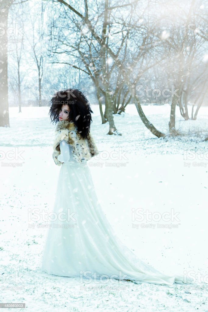 Beautiful Woman Wearing A Wedding Gown In The Snow stock photo