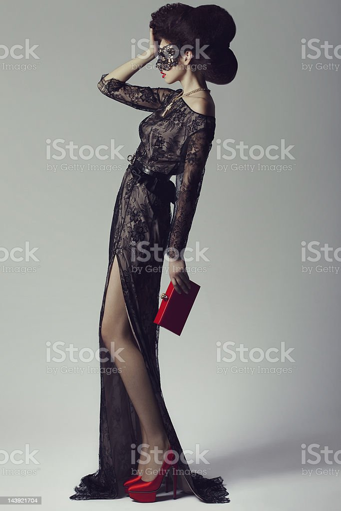 Beautiful woman wearing clothes from couture stock photo