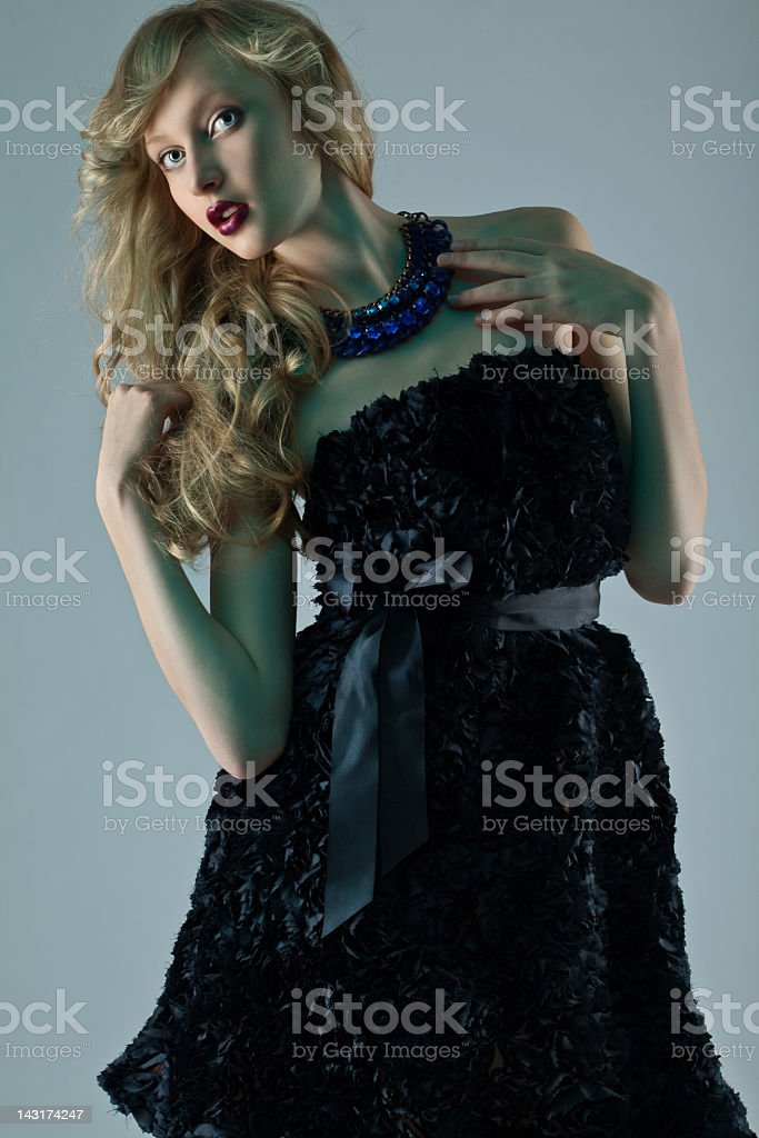 Beautiful woman wearing clothes haute couture royalty-free stock photo