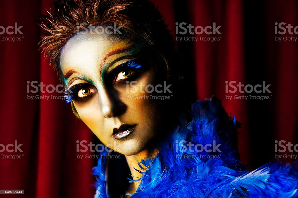Beautiful woman wearing creative Alien makeup stock photo