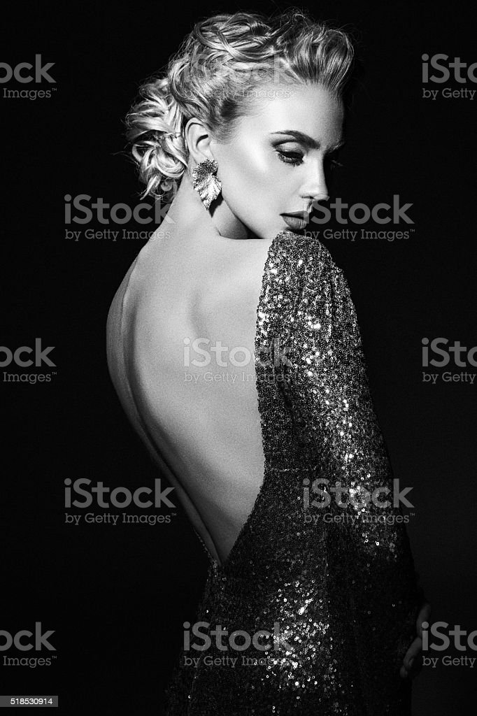 Beautiful woman wearing dress stock photo