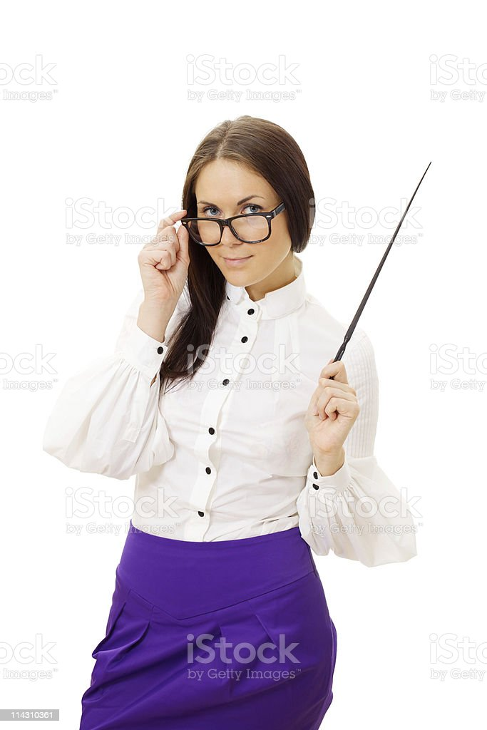 Beautiful woman wearing glasses standing and holding pointer royalty-free stock photo