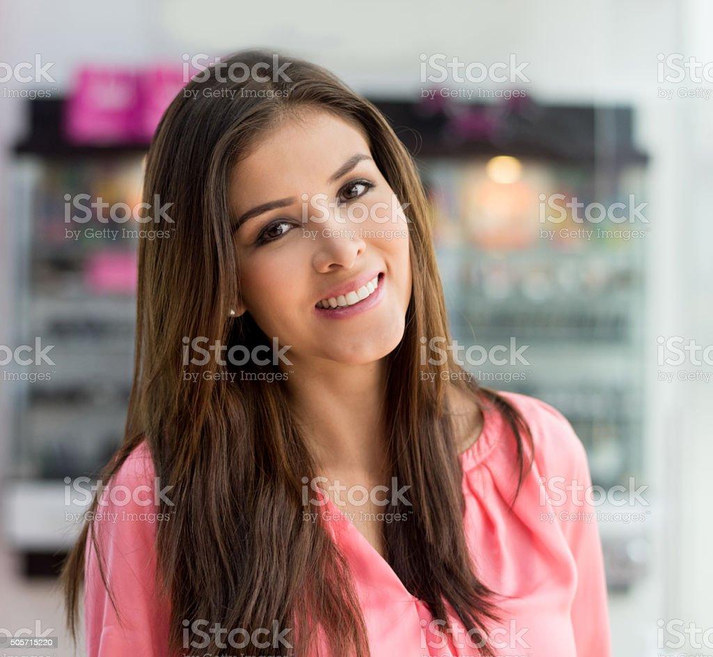 Beautiful woman wearing makeup stock photo