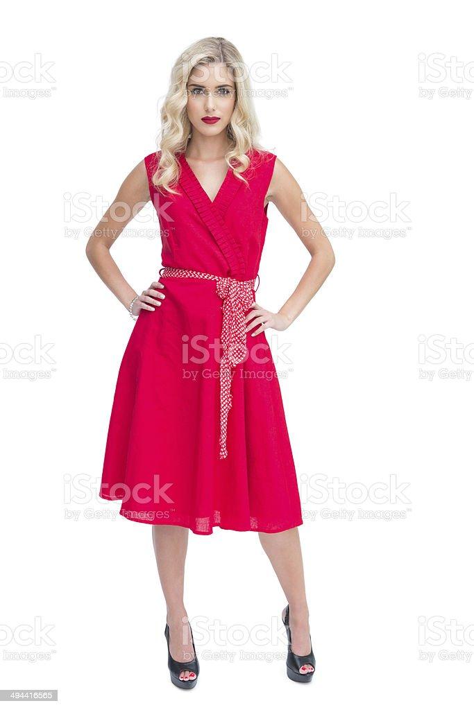 Beautiful woman wearing red dress stock photo