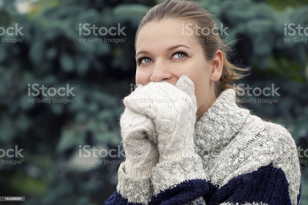 Beautiful woman wearing sweater royalty-free stock photo