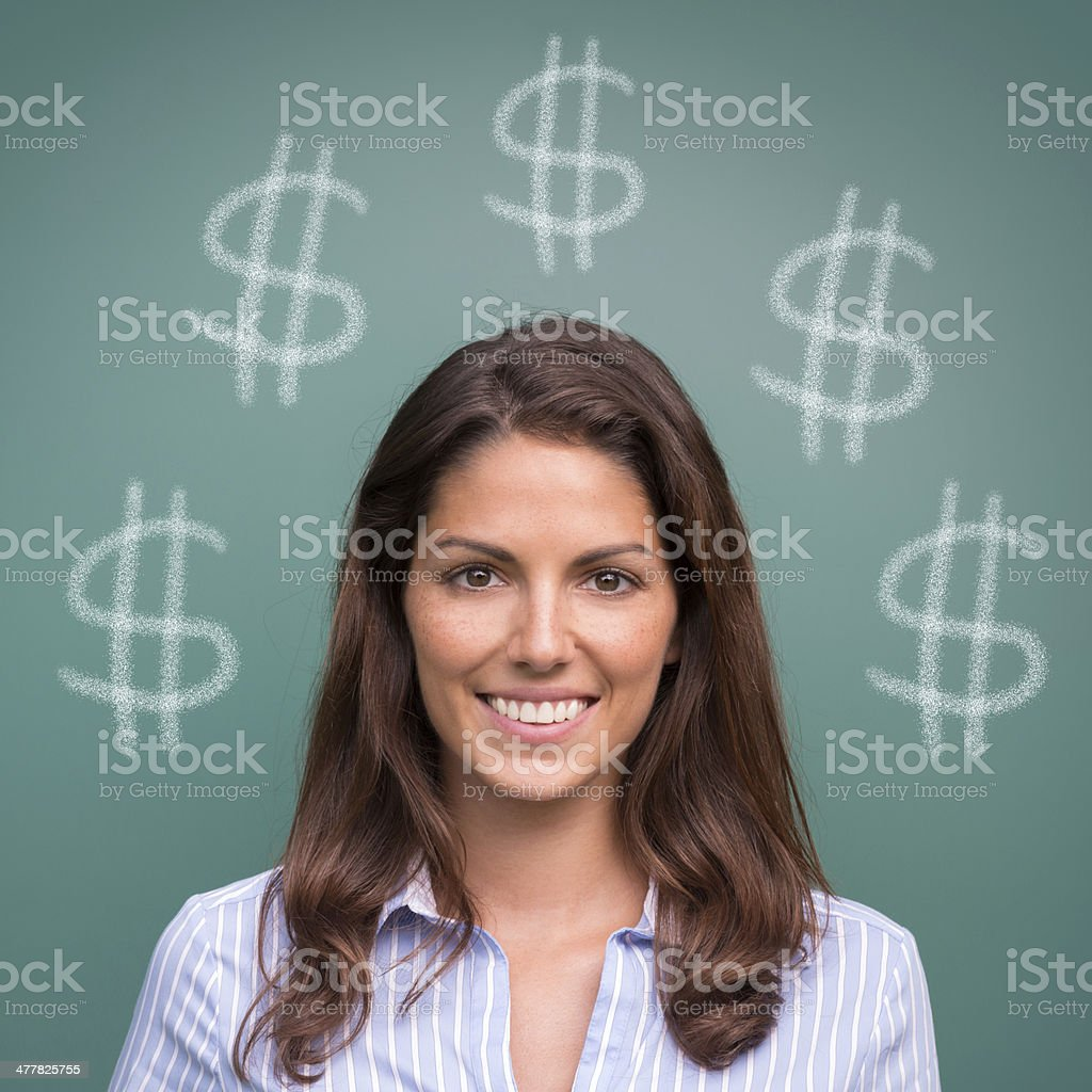Beautiful Woman, Winner, Dollar Sign royalty-free stock photo