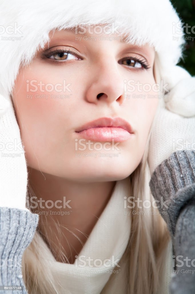 Beautiful woman winter portrait stock photo