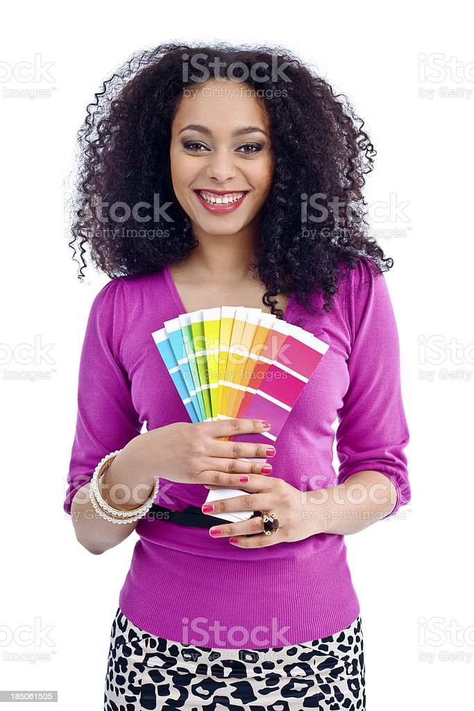 Beautiful woman witch color swatches royalty-free stock photo
