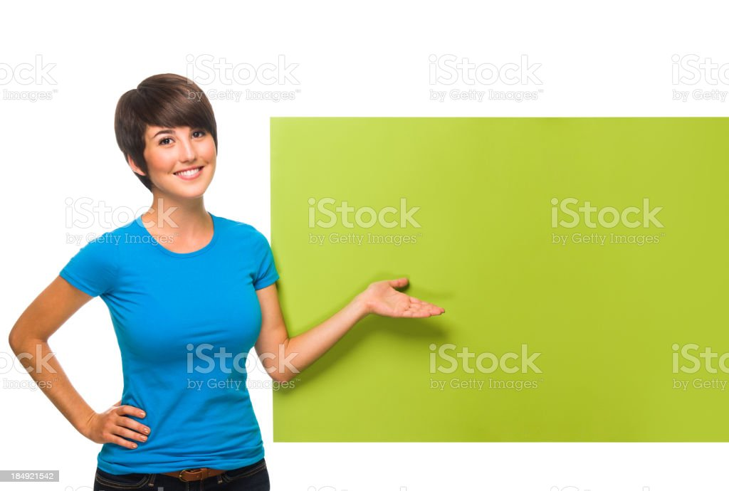 Beautiful woman with a blank sign royalty-free stock photo