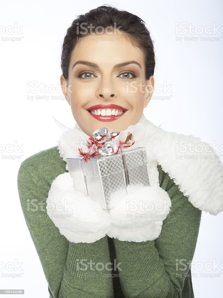 Beautiful Woman With A Christmas's Gift royalty-free stock photo