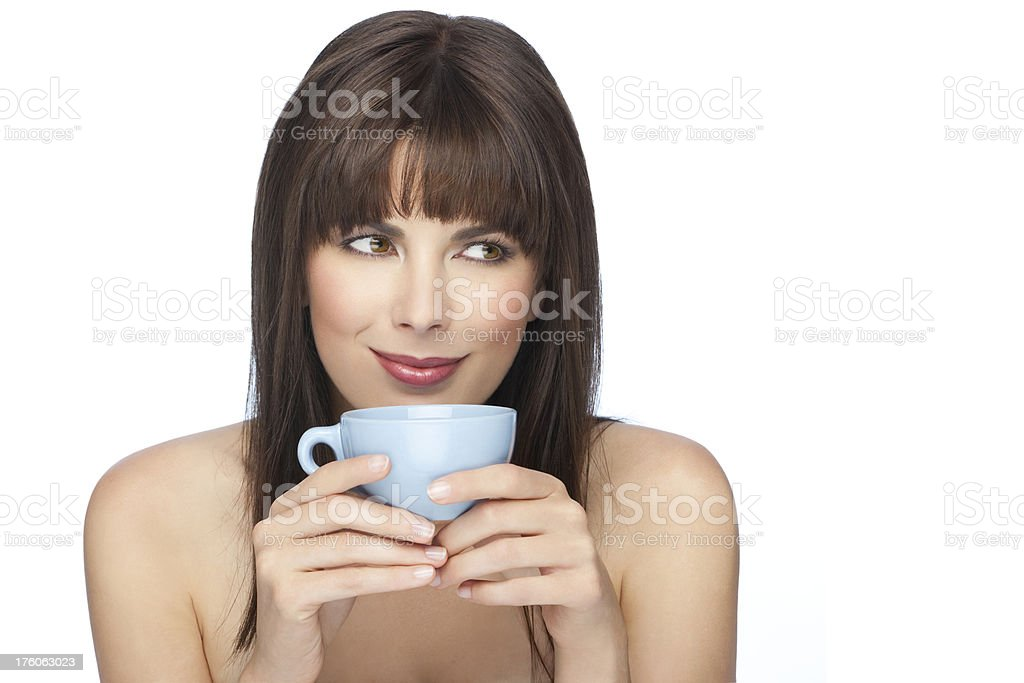 Beautiful Woman With A Cup Of Coffee. royalty-free stock photo