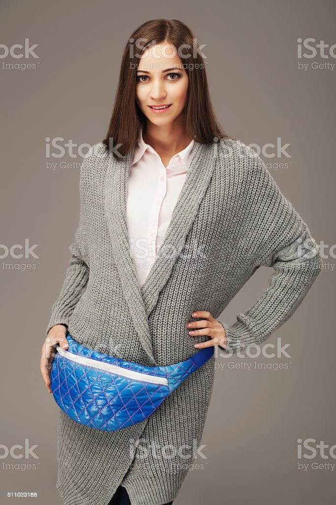 Beautiful woman with a fanny pack stock photo