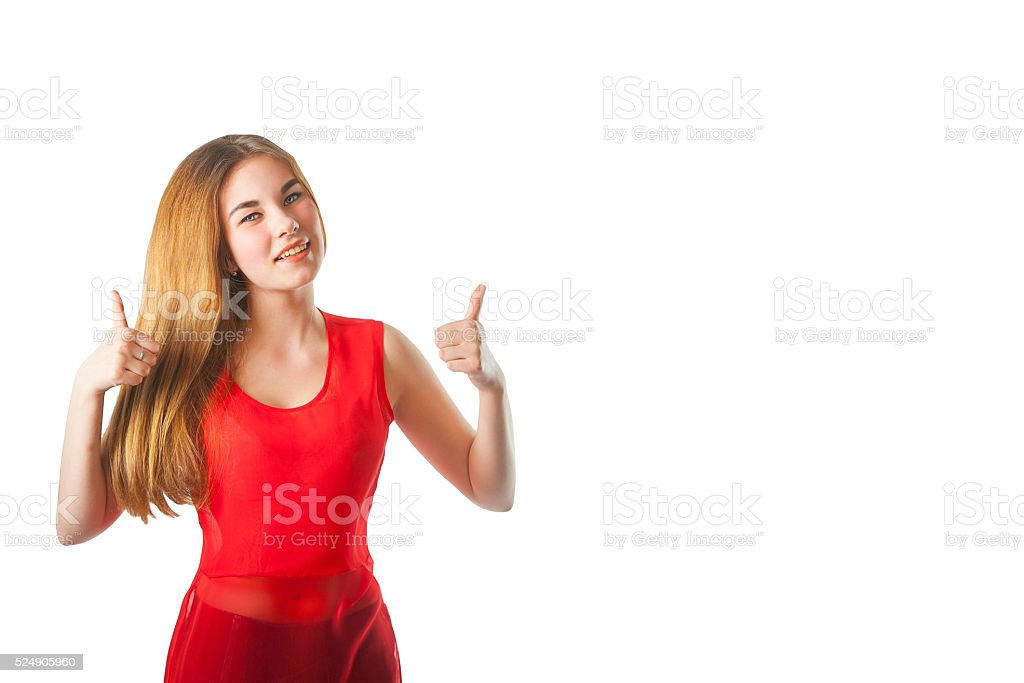 beautiful woman with a gesture of super stock photo