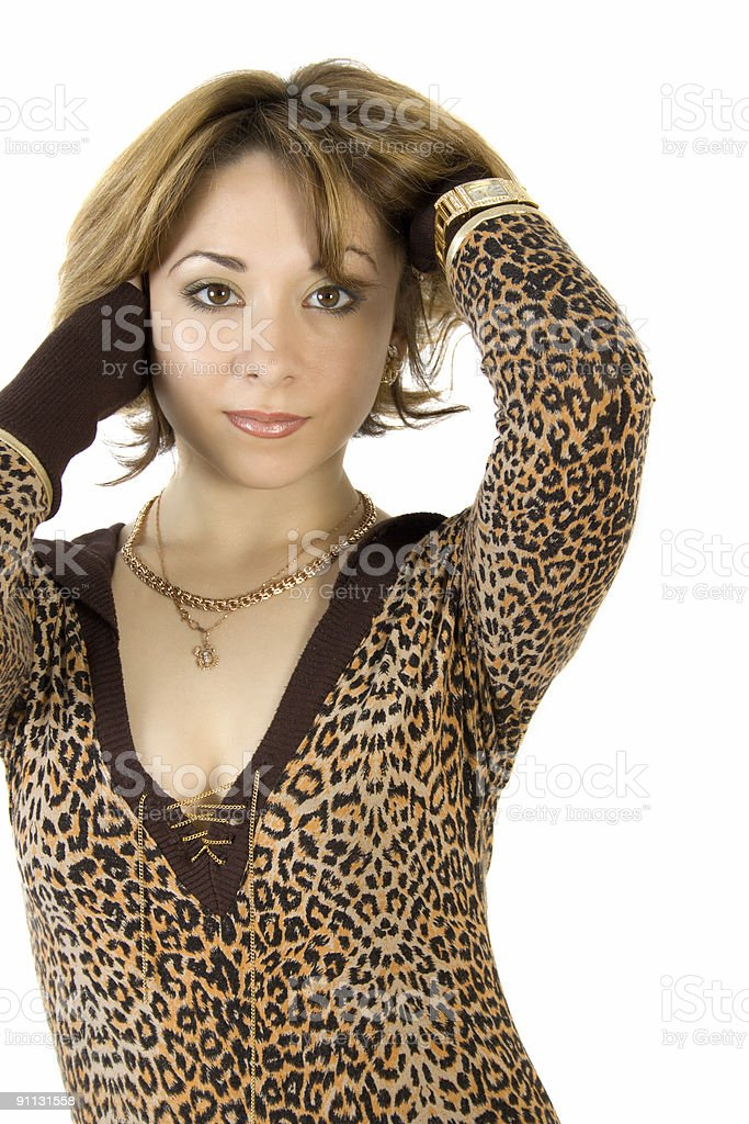 beautiful woman with a gold chain royalty-free stock photo