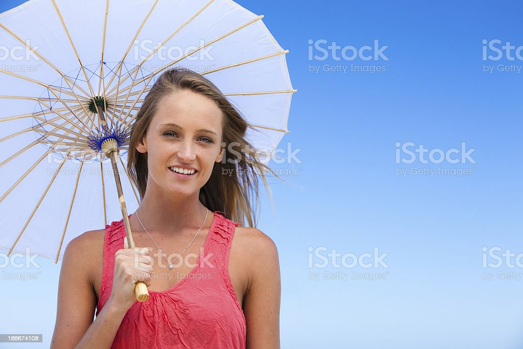 Beautiful Woman with a Parasol royalty-free stock photo
