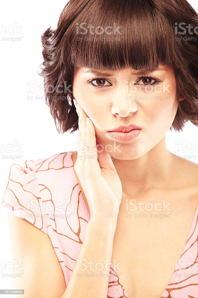 Beautiful woman with a toothache royalty-free stock photo