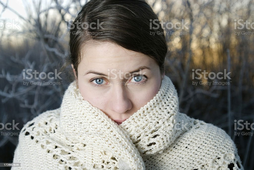 Beautiful woman with a white scarf stock photo