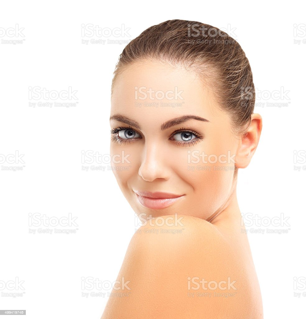 Beautiful woman with adorable smile.White background stock photo