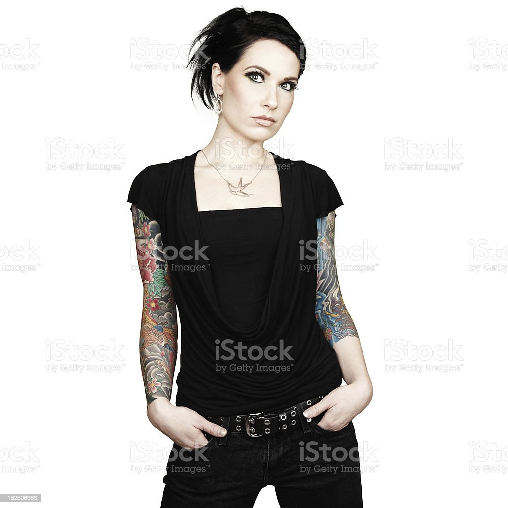 Beautiful Woman with Arm-Sleeve Tattoos. Isolated on White Background. royalty-free stock photo
