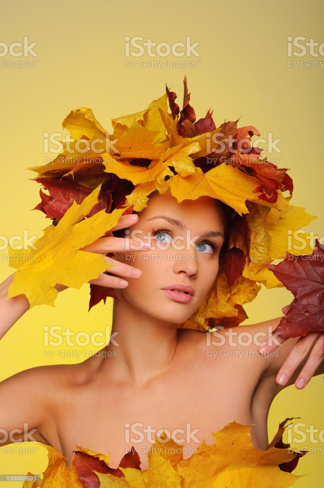 Beautiful woman with autumn leaves royalty-free stock photo