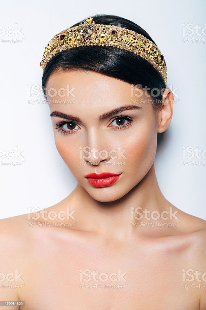 Beautiful woman with barrette stock photo