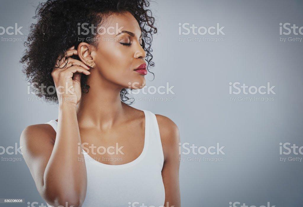 Beautiful woman with big black hair white shirt, Black woman stock photo