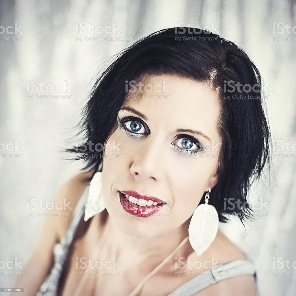 Beautiful woman with big blue eyes royalty-free stock photo