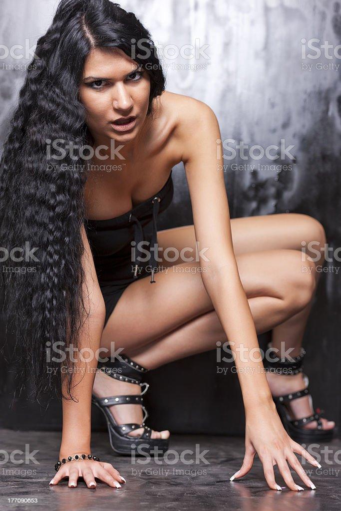 Beautiful Woman with black hair stock photo