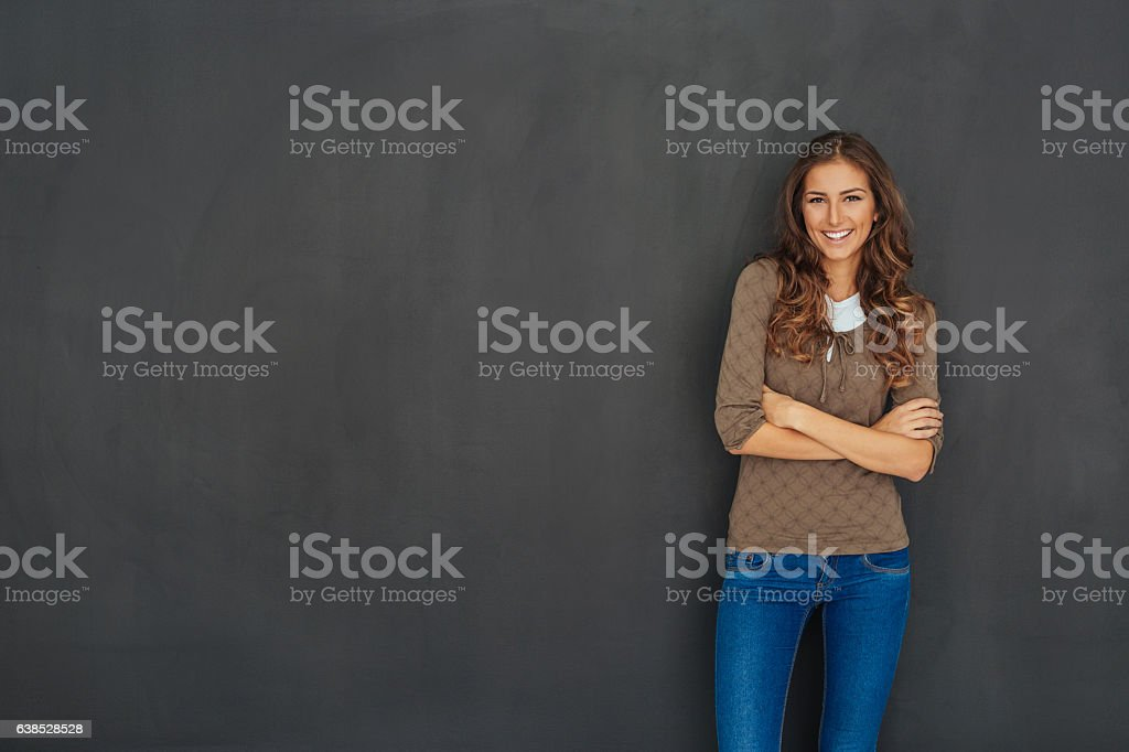 Beautiful woman with blackboard copy space stock photo