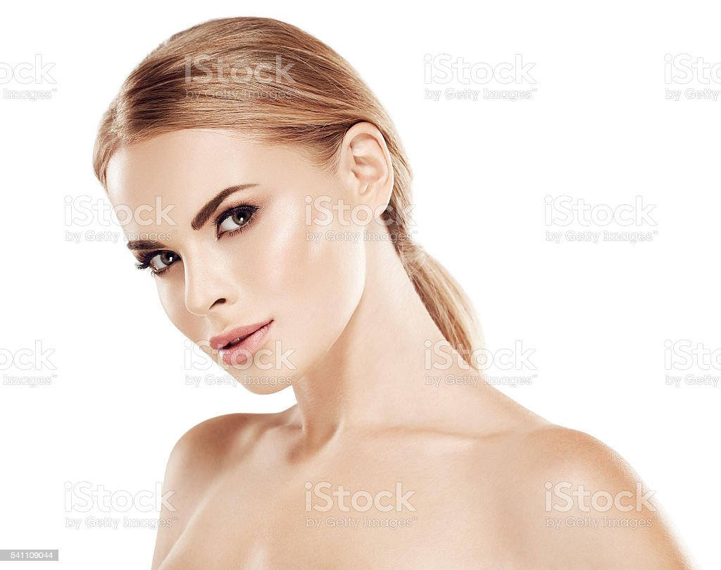 Beautiful woman with blonde hair close up portrait stock photo